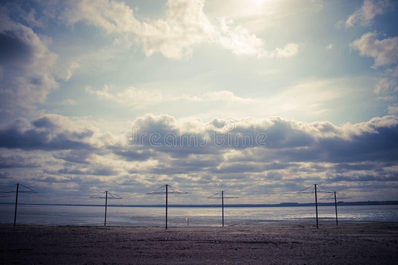 Spring empty beach. Lake Smolino, Russia royalty free stock photo