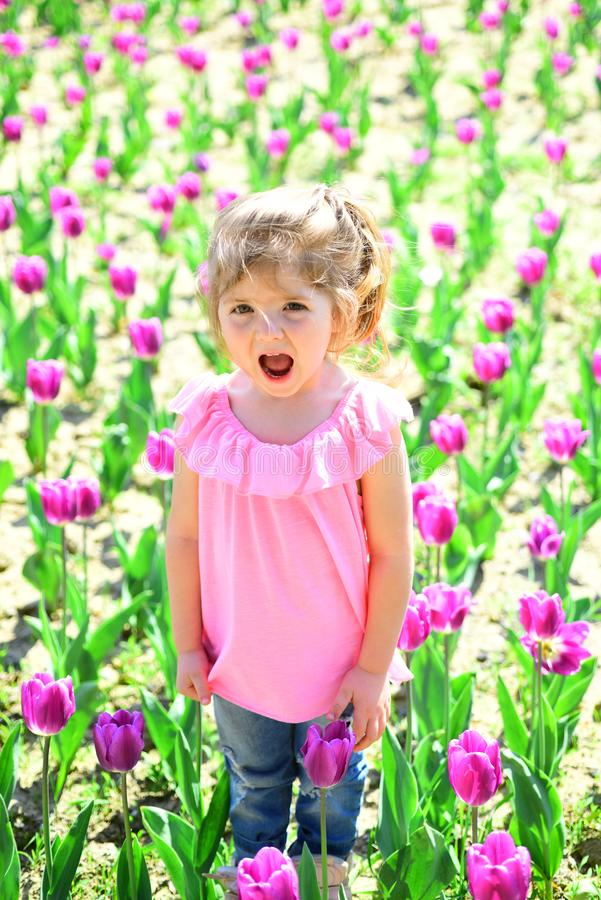 Spring everywhere. face and skincare. allergy to flowers. Small child. Natural beauty. Childrens day. Little girl in stock images
