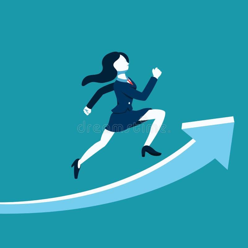 Spring för affärskvinna för affärsidévektorillustration på stort piltecken royaltyfri illustrationer