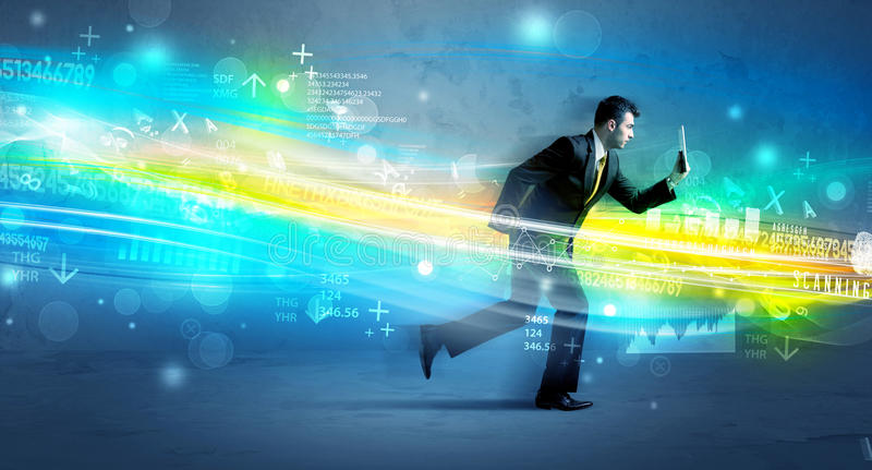 Spring för affärsman i tekniskt avancerat vågbegrepp royaltyfri foto