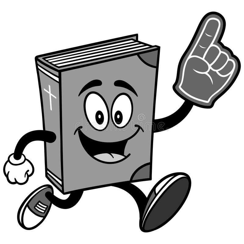 Spring för bibelskolamaskot med skumfingerillustrationen stock illustrationer
