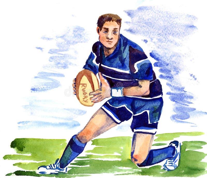Spring för idrottsman nenrugbyspelare med bollen på fotbollfältet stock illustrationer
