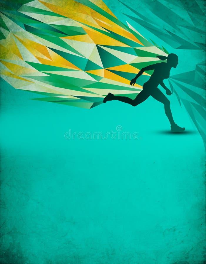 Spring för kontur för affischmall kvinnlig stock illustrationer