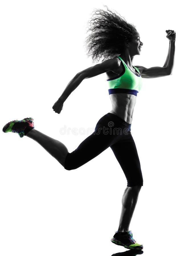 Spring för kvinnalöparejogger som joggar konturn arkivbild