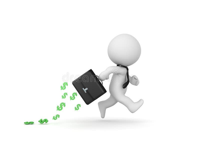 spring för tecken 3D med portföljen som lämnar en slinga av pengar stock illustrationer