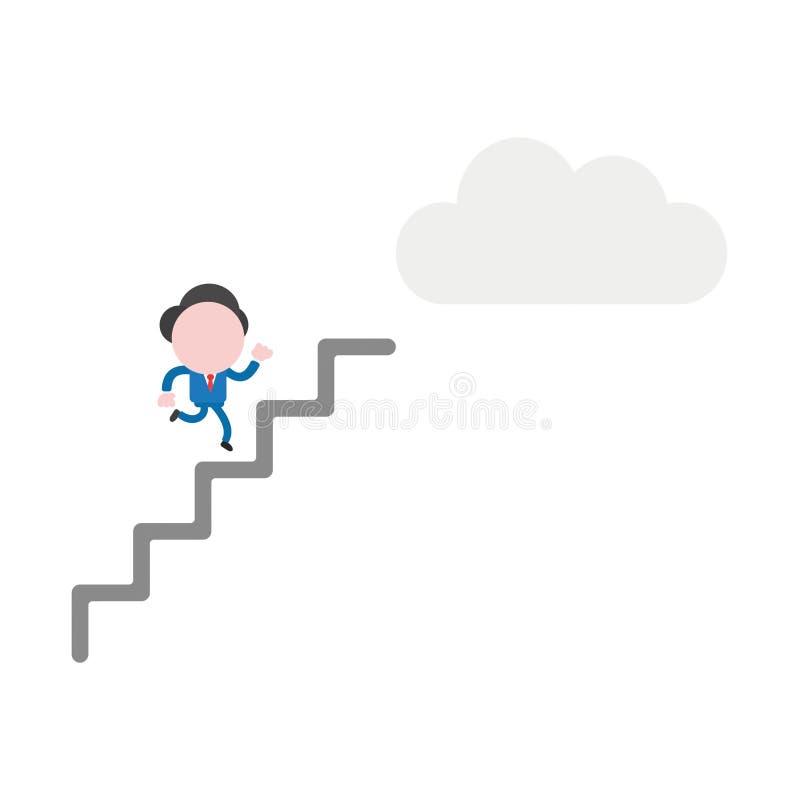 Spring för tecken för vektorillustrationaffärsman på trappa till r royaltyfri illustrationer