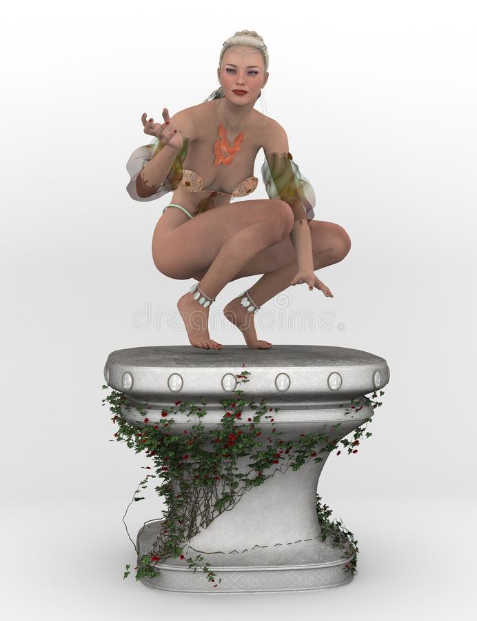 Spring fae on pedestal royalty free illustration