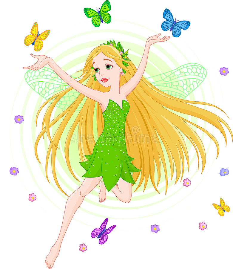 Spring fairy. Vector illustration of a spring fairy in flight vector illustration