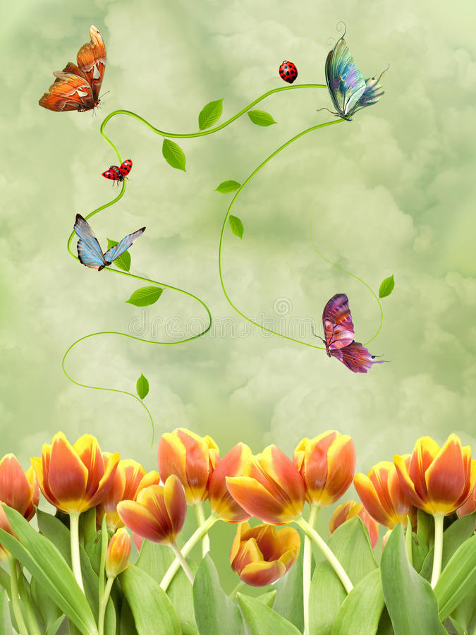 Spring fantasy. With gardens flowers and butterflies