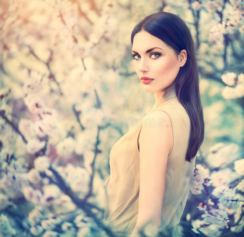 Spring fashion girl outdoor portrait royalty free stock photo