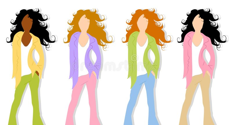 Spring Fashion Models 3. An illustration featuring your choice of 4 spring fashion models with long wavy hair and combinations of slacks and tops with jackets vector illustration