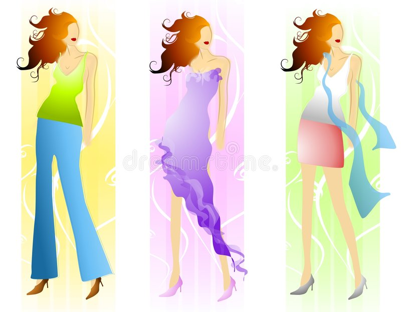 Spring Fashion Models. An illustration featuring your choice of 3 spring fashion models with long wavy hair and combinations of slacks/top, dress, and short royalty free illustration