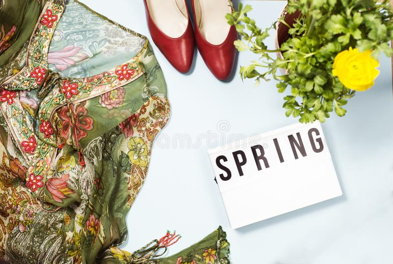 Spring fashion top view royalty free stock images