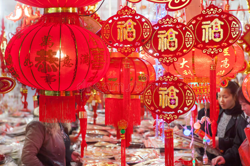 Spring festival decorations in market stock photo