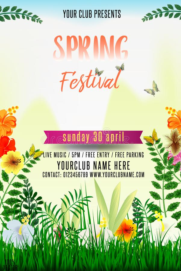 Spring festival flyer design with green grass royalty free illustration
