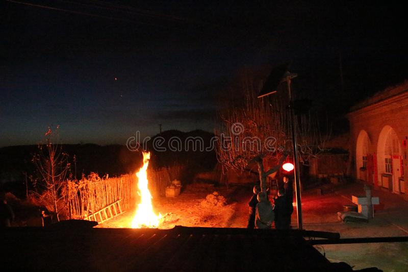 Wildfire after Spring Festival stock image