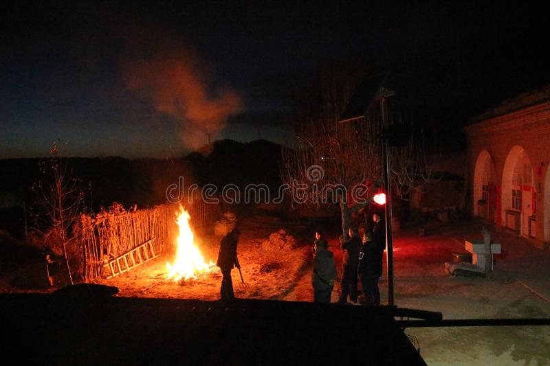 Wildfire after Spring Festival stock photo
