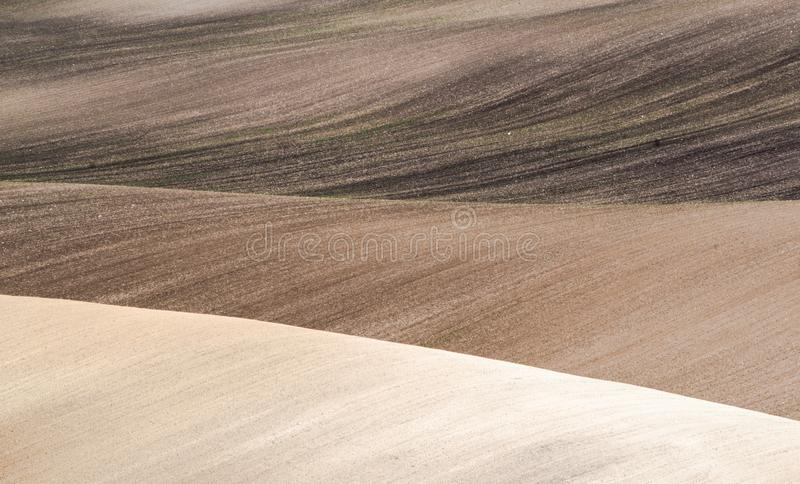 Spring field abstract nature background. Spring sown field abstract eco background. Summer hill minimal nature wallpaper. South Moravia, Czech Republic royalty free stock photos