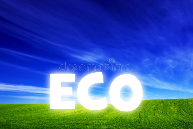 Spring field of fresh green grass with glowing Eco caption vector illustration