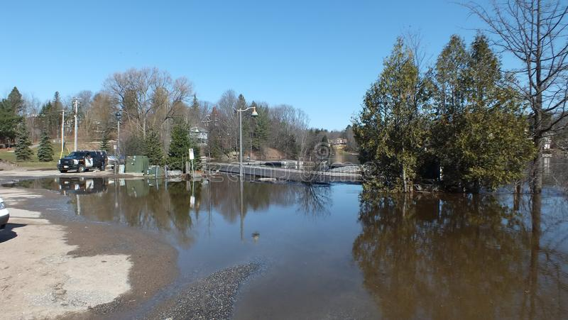 Spring Flood in Huntsville, Ontario, 2013 royalty free stock image