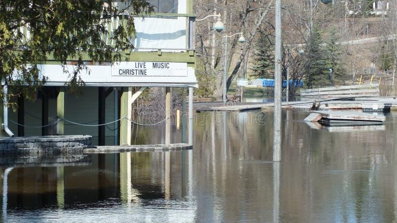 Spring Flood in Huntsville, Ontario, 2013 stock image