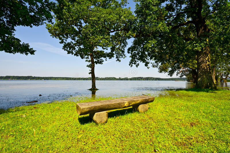 Spring Flooding. Of the Lake Simssee in Bavaria, Germany stock photography