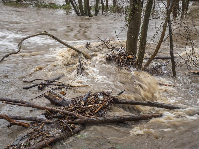 Spring Flooding and Fast Moving Melt Water During Heavy Rain. stock photos