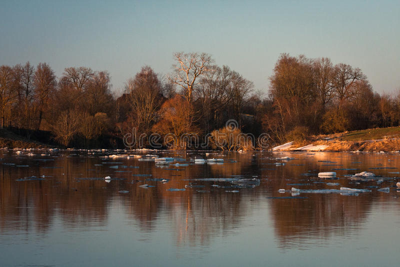Spring flooding in Lielupe river. Springtime flooding in Lielupe river in latvia royalty free stock images