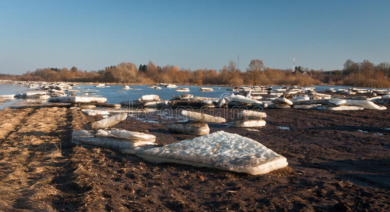 Spring flooding. Springtime flooding in rivers with ice royalty free stock images