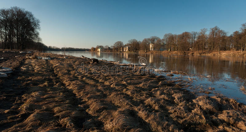 Spring flooding. Springtime flooding in rivers with ice royalty free stock photo