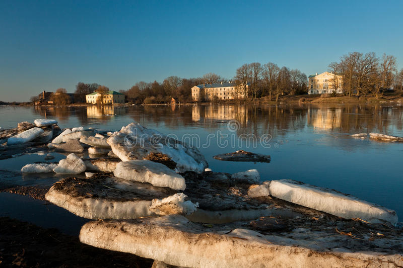 Spring flooding. Springtime flooding in rivers with ice stock photo