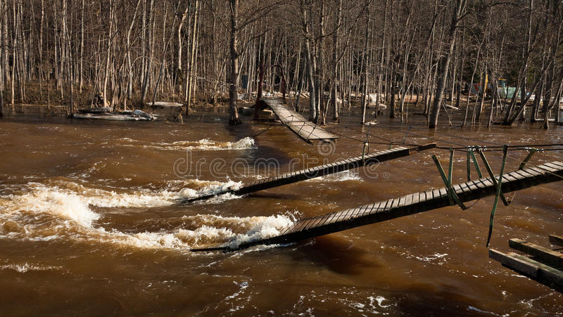 Spring flooding. Springtime flooding in rivers with ice stock photos