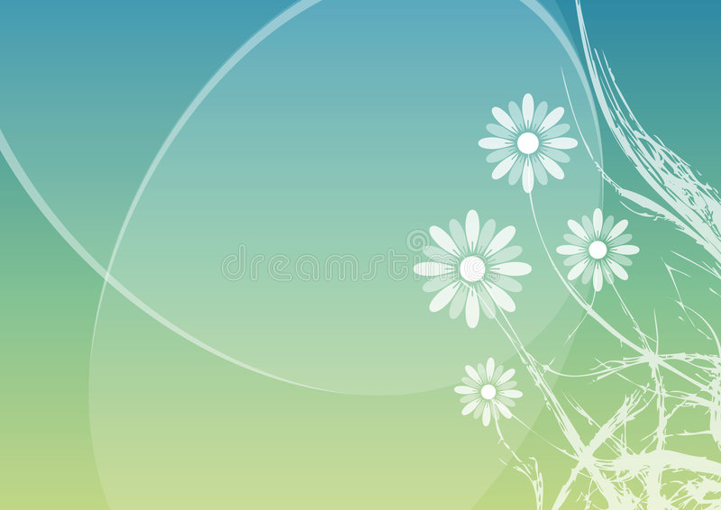 Spring floral background. Spring floral blue and green vectorized background stock illustration