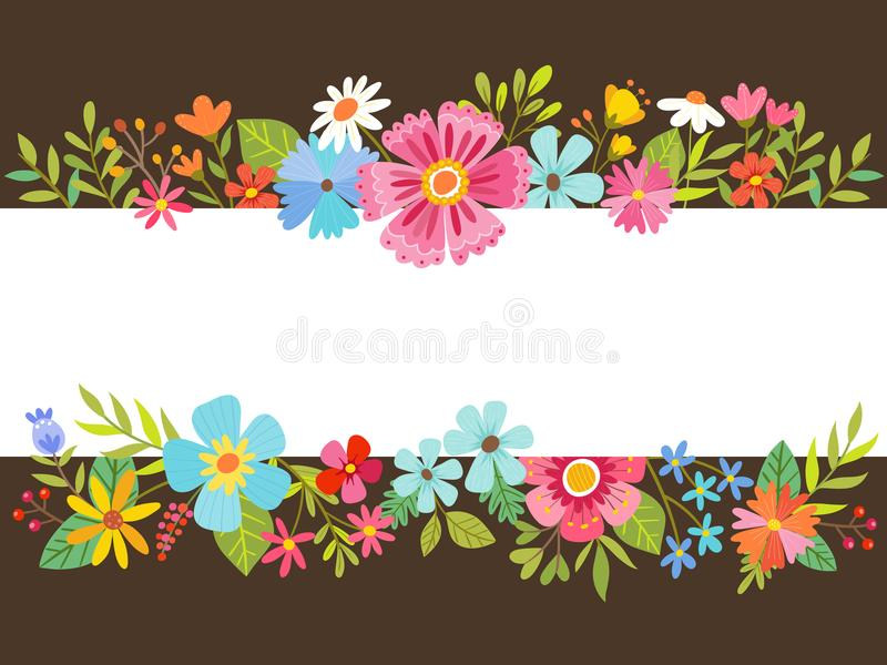 Spring floral background with cartoon flowers. vector illustration