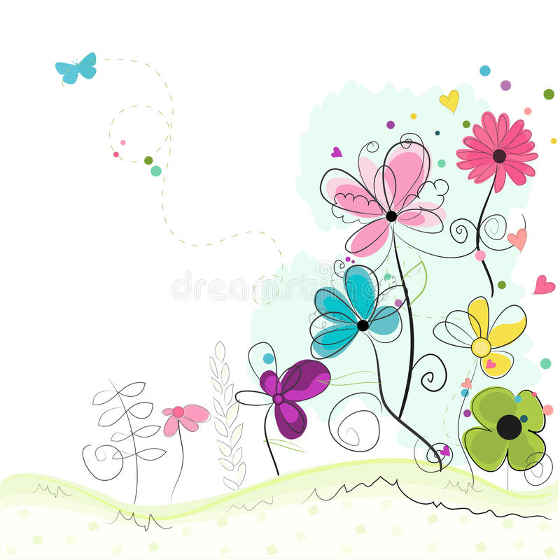 Spring floral background with spring Letters and daisy flower stock illustration