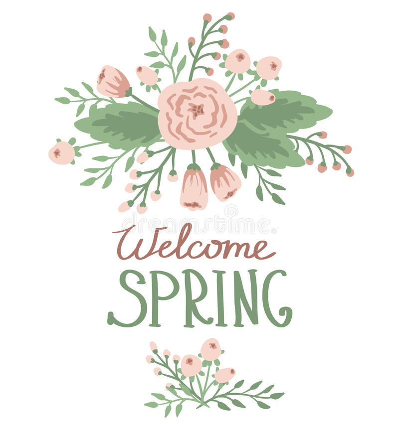 Spring with floral elements royalty free illustration