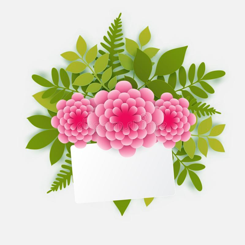Spring floral greeting card. Elegant floral background with 3d p stock illustration