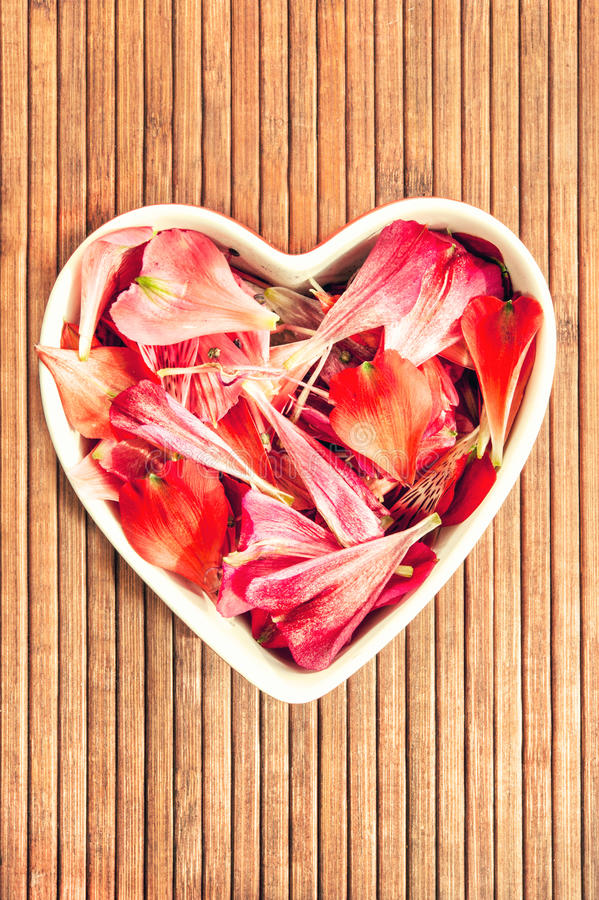 Spring floral petals love heart shaped decor. Spring floral petals love heart shape decor on wooden background with retro filter. Indoor still life. Closeup stock photo