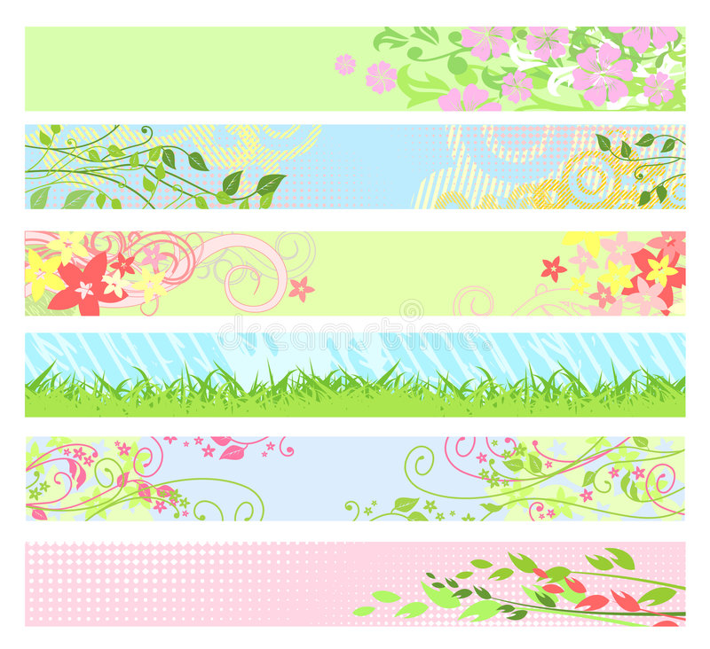 Spring floral website banners / vector stock illustration