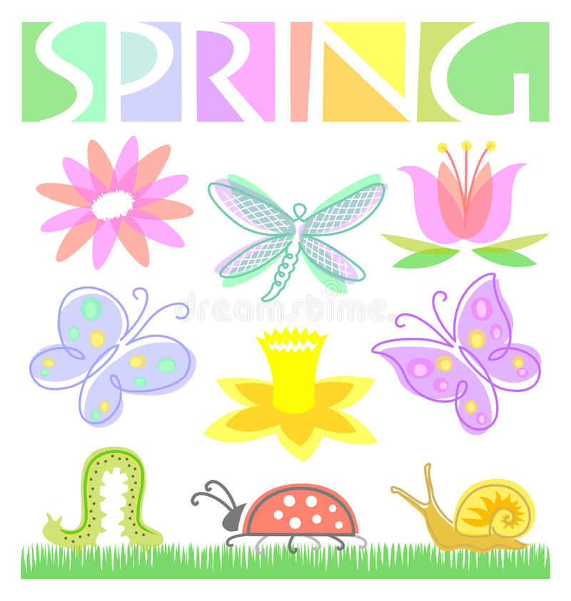 Free Spring Flower And Bug Set/eps Royalty Free Stock Photo - 18302315
