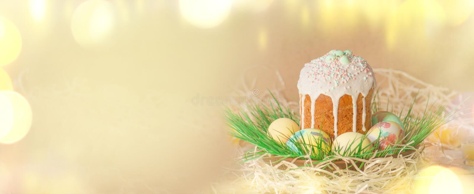 Easter banner with Easter eggs royalty free stock image