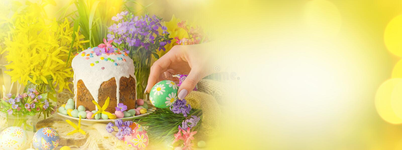 Spring flower banner background with Easter eggs. Easter holiday creative background. View with copy space royalty free stock image