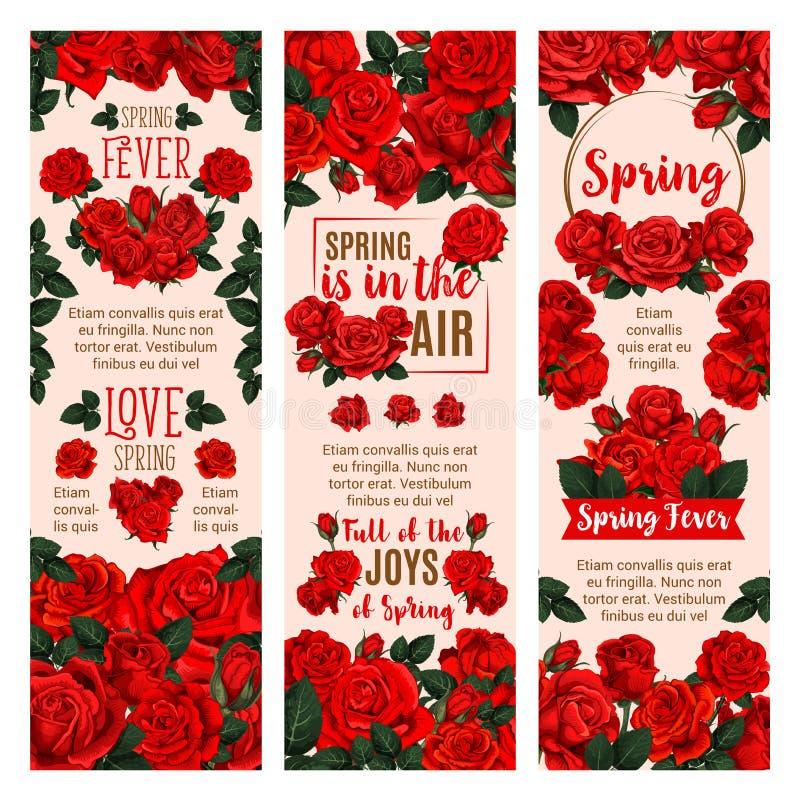 Spring flower banner with red rose floral wreath vector illustration