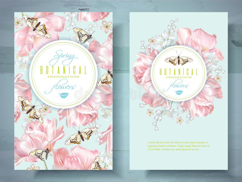 Spring flower banners. Vector spring flower banners with pink tulips and butterflies. Elegant tender design for natural cosmetics, perfume. With place for text