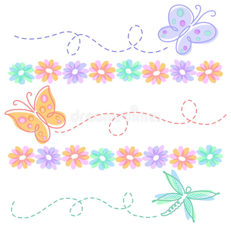 Spring Flower Butterfly Borders/eps vector illustration