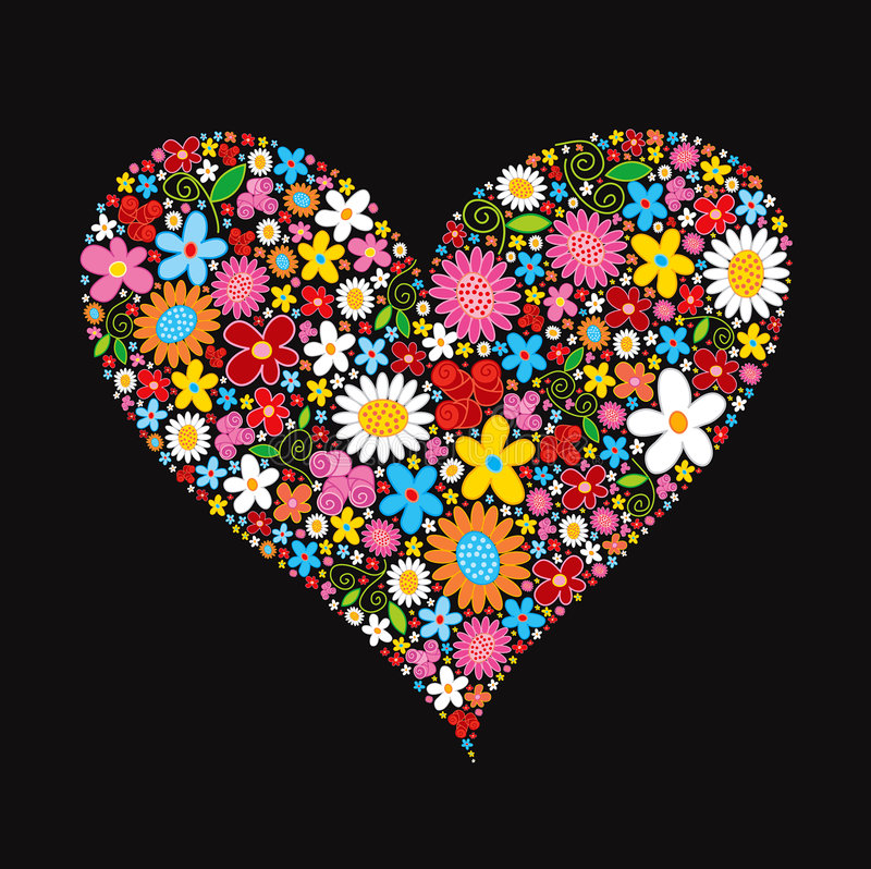 Spring flower valentine heart. On black royalty free illustration