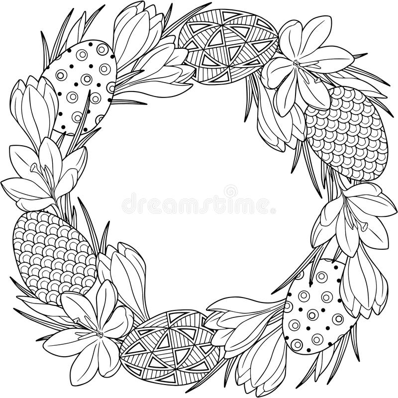 Spring flower wreath of crocuses and easter egss. Vector elements isolated. Black and white image for adult relaxation. Backgrou. Spring flower wreath of royalty free illustration