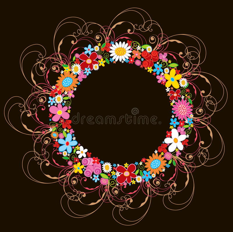Spring flower wreath and swirls stock images