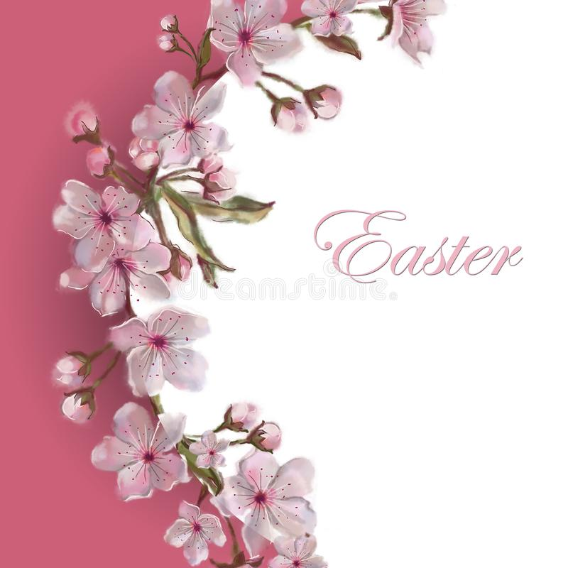 Sakura Flower Wreath Template. Copy Space Isolated on White. Apple/Almond/Cherry Blooms. Easter, Mother`s Day, Valentine, wed stock illustration
