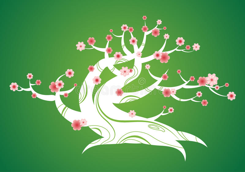 Spring flowering tree with curved trunk